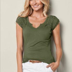 Venus Lace Up Shoulder Tee Large Olive Green